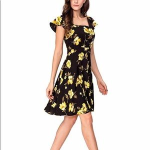 Noctflos Vintage Floral Square Neck A-line Dress